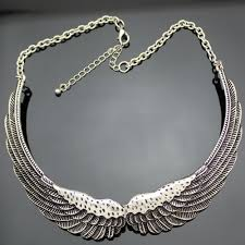 silver plated collar necklace images Antique silver plated quot feather choker quot necklace blown biker jpg