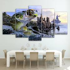 bass fishing home decor canvas paintings printed 5 pieces largemouth bass fishing wall art