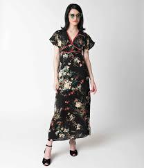 chiffon maxi dress vintage style black floral flutter sleeve chiffon maxi dress