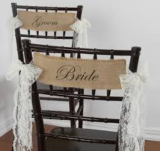 Burlap Chair Sash Bride And Groom Burlap Chair Sashes With Lace Ties