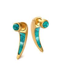 turquoise earrings studs lyst sue o turquoise ear jacket stud earrings set