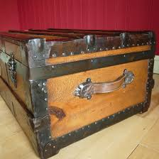 vintage steamer trunk coffee table storage chest rustic wooden
