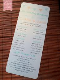 wedding program stationary wedding program flat card for church ceremony stationary