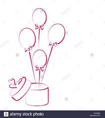 balloons gift open gift box with balloons for your stock vector