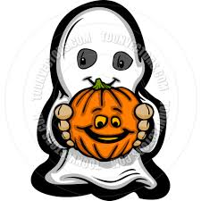 cute halloween kid in ghost costume cartoon vector illustration by