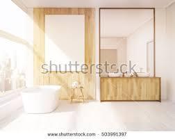 iterior bathroom mirror bath tub table stock illustration