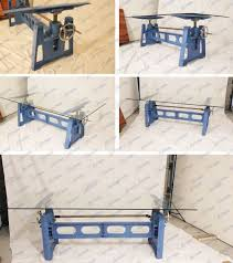 cast iron industrial crank table base or crank desk height