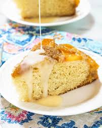 upside down peach cake with rum sauce hostess at heart