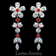 new design luxury red white flower wedding bridal necklace earring