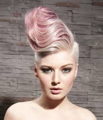 female short hair undercut pink hair with undercut huge waves and styled to one side
