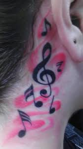 music note tattoos behind the ear musical and godly neck piece