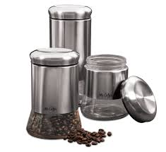 stainless steel canister sets kitchen mr coffee gear 3 piece glass canister set stainless steel