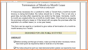 Terminate Lease Letter 7 Month To Month Rental Agreement 30 Day Notice Purchase