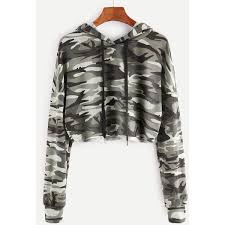 army pattern crop top olive green camo print crop hoodie 20 liked on polyvore