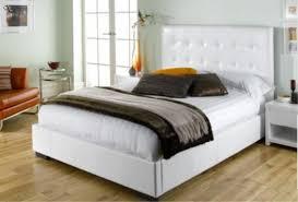 white leather bed frame homehighlight co uk