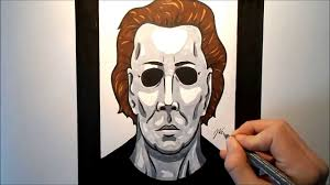 how to draw michael myers halloween youtube