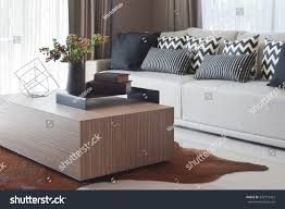 stylish living room design grey striped stock photo 529715422