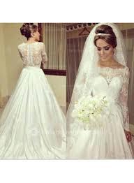 bateau satin lace wedding dresses 2017 long sleeve simple bridal