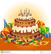 birthday cake and gifts royalty free stock photo image 27334505