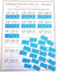 factoring trinomials activity advanced algebra student and