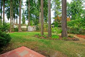 countryside house backyard with small shed and trees stock photo