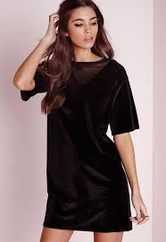 mesh velvet v neck t shirt dress black missguided