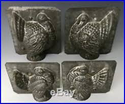 2 antique eppelsheimer thanksgiving turkey tin chocolate molds ny
