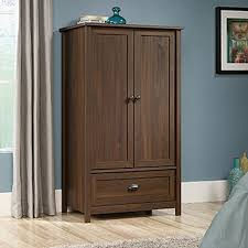 Bedroom Sets With Armoire Sauder County Line Rum Walnut Armoire 415995 The Home Depot