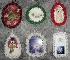 crocheted recycled card ornaments thriftyfun