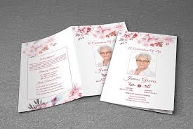 funeral programs template flower funeral program template brochure templates creative market