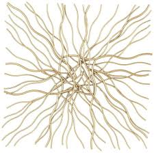 abstract wall art large metal sculpture gold branch weave hanging