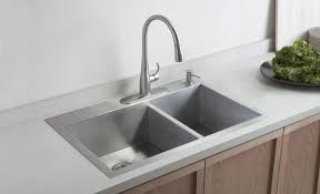 great kitchen sink design featuring stainless steel double bowl