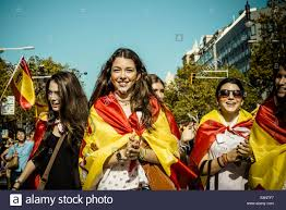 Spain Flag 2014 Barcelona Spain 12th October 2014 Girls With Painted Faces And