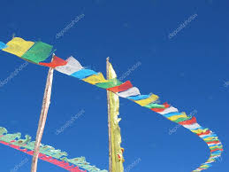 Tibetan Flags Tibetan Flags With Mantra On Sky Background U2014 Stock Photo Pawinp