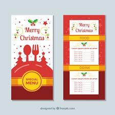 retro christmas menu vector free download