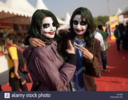 new delhi india 4th dec 2015 girls in costume of joker the