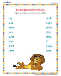 learning synonyms with alex english worksheet on synonyms