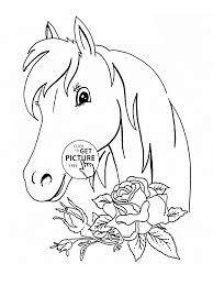 horse and roses coloring page for kids flower coloring pages
