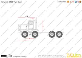 kenworth c500 the blueprints com vector drawing kenworth c500 twin steer