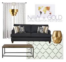 Gold Curtains Living Room Inspiration Budget Friendly Gold Navy Living Room Through The Front Door