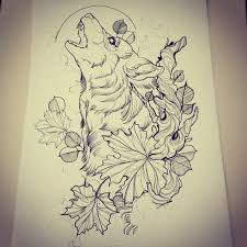 i like this idea with the wolf coming out of the leaves i want a