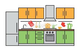dessins cuisine design dintérieur de cuisine à clipart vectoriel thinkstock