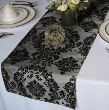 victorian silver and black flocked damask taffeta table runner