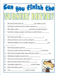 nursery rhyme baby shower free printable nursery rhyme quiz baby shower quiz baby