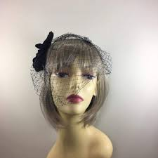 funeral veil black hair flower with diamante black birdcage veil for funerals