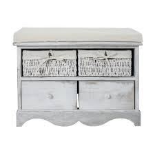Schlafzimmer Bank Grau Mobili Rebecca Sitzbank Behälter 4 Schubladen Rattan Holz Weiß