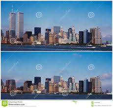 manhattan skyline new york manhattan skyline before and after 9 11 stock photo