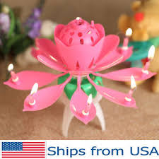 musical birthday candle lotus candle birthday flower musical rotating floral cake candles