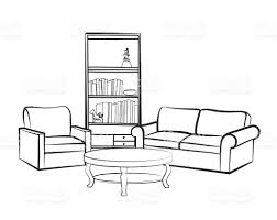 interior furniture set doodle sketch of living room design stock