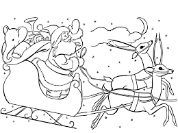 santa sleigh coloring pages kids coloring